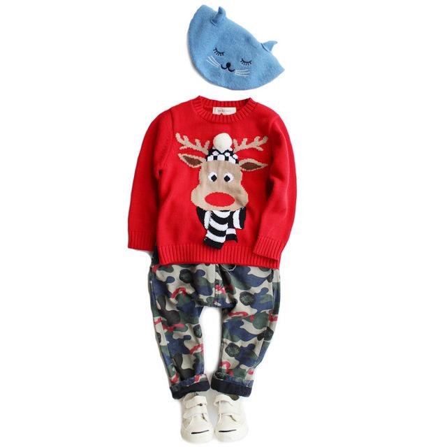 Nuevos Muchachos del bebé Rojo de Santa alces pullovers Suéter Al Por Mayor 2017