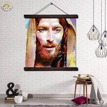 Jesus Christ Modern Wall Art Print Pop Picture And Poster Solid Wood Hanging Scroll Canvas Painting Home Decor Lord God