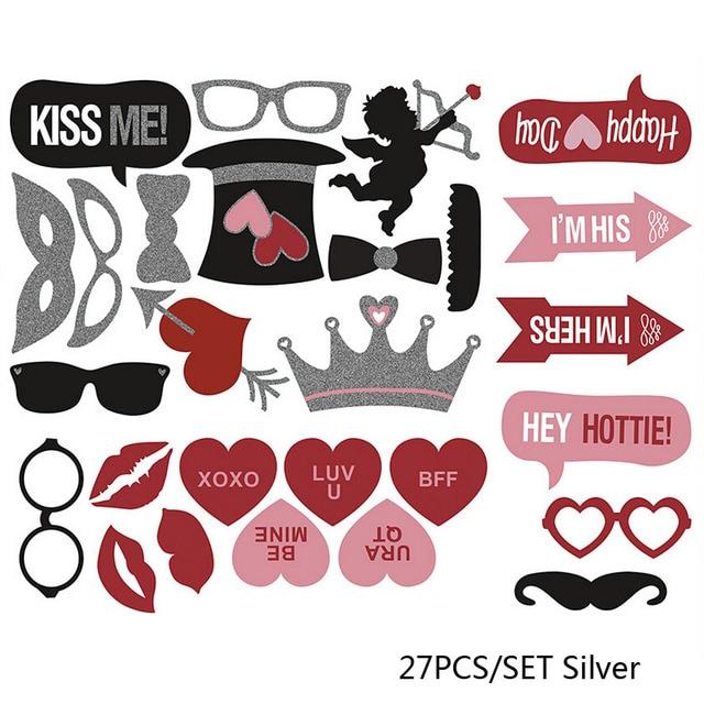 27pcs Diy Mustache Lip Xoxo Valentine Day Christmas Beard Wedding