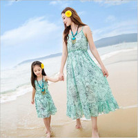 2018 Summer Matching Mom Daughter elegant Dress Mom Daughter Sleeveless Dress Girl Beach Floral Chiffon Dress Family Clothing
