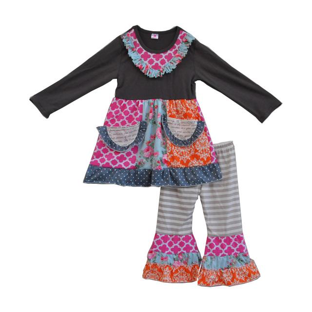 Outono inverno frete grátis nova moda meninas da criança roupa das crianças do algodão roupa do bebê 2 peças conjuntos de roupas com bolsos F072