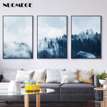 NUOMEGE Nordic Style Forest Landscape 3 Pieces Canvas Poster Wall Art paintings for living room  Modern Home Decoration Picture
