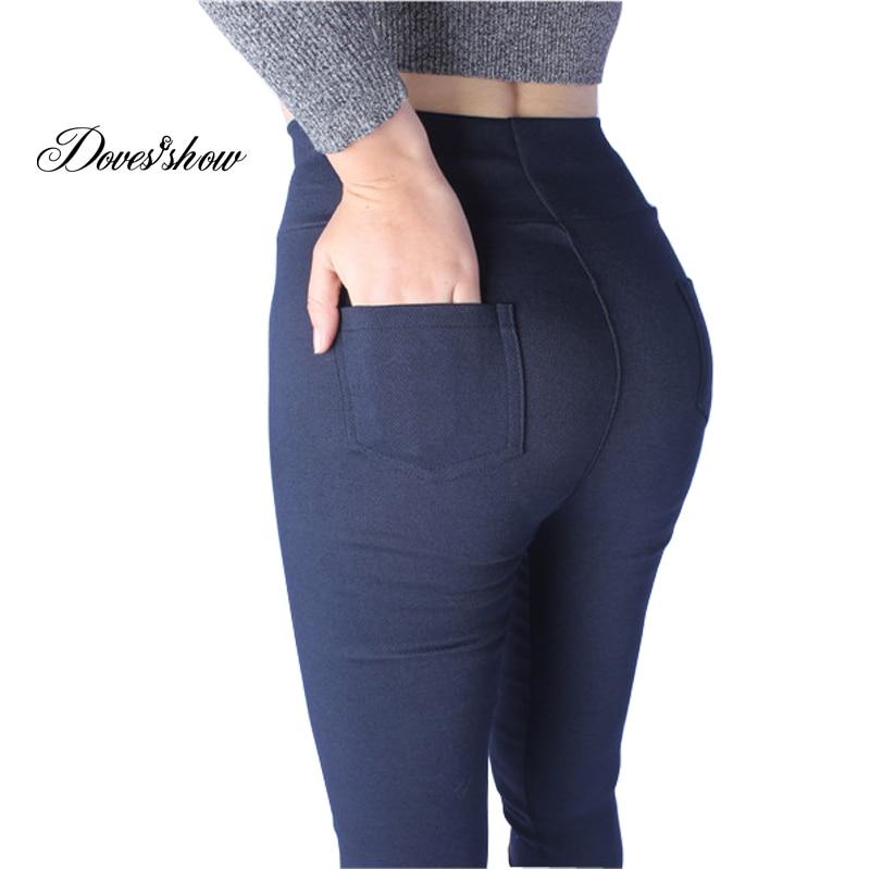 60% discount wide selection of designs deft design High Stretch Denim Leggings Women Spring Pants Plus Size Jeans Leggings  Casual Elastic Pencil Pants Women's Clothing Trousers