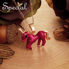 Special Fashion Enamel Unicorn Maxi Necklace Fairy Tale Necklaces & Pendants Lovely Jewelry Gifts for Women S2717N