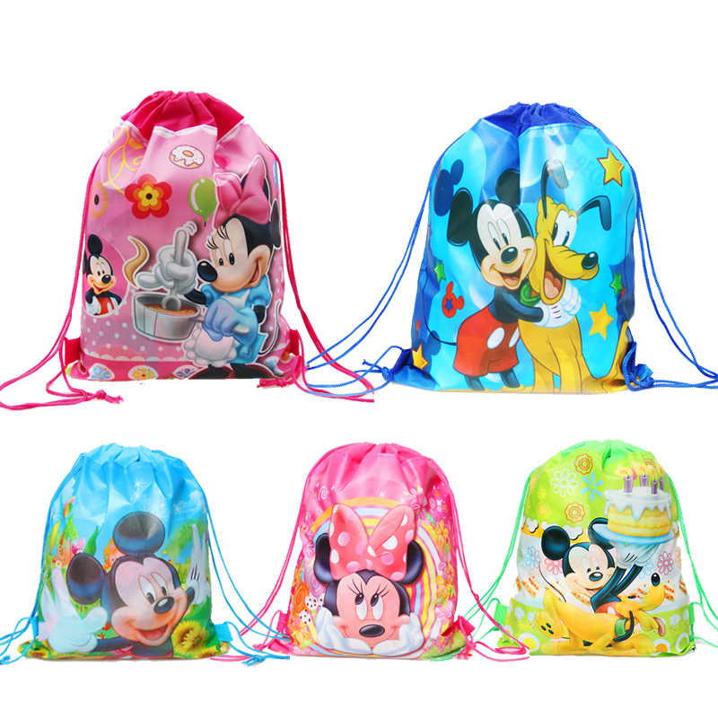 1pcs Cartoon Minnie Mickey theme party supplies non-woven drawstring bag kids school backpacks travel Package gift bag
