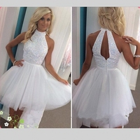 White Short Homecoming Dresses Tulle Halter Graduation Sequin Beading Backless Cocktail Dresses Custom Made Prom Dress