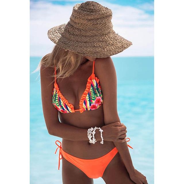 Bandage Halter Beach Wear Push Up Bathing suits Print Swimwear Female Brazilian Bikini Set S-XL 5