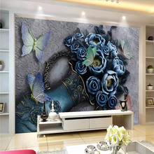 3D flower butterfly relief wall decoration painting professional production mural wallpaper wholesale custom poster photo