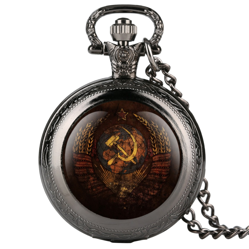 Retro Communisim Party USSR Badge Design Pocket Watch For Boy Quartz Arabic Number Pendant Necklace Chain Watches For Teenager