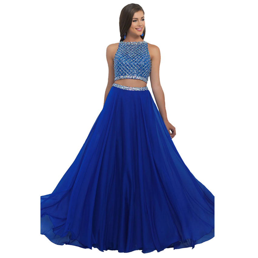 868d36c6bfb69 A-line Backless Long Royal Blue Prom Dresses 2016 With Boat Neck and  Beading Chiffon 2 Piece Prom Dresses For Girls Party