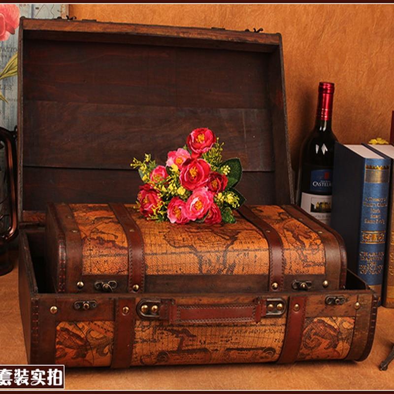 Gushifu Houten doos Europese koffer vintage doos Geschenk houten - Home opslag en organisatie - Foto 4