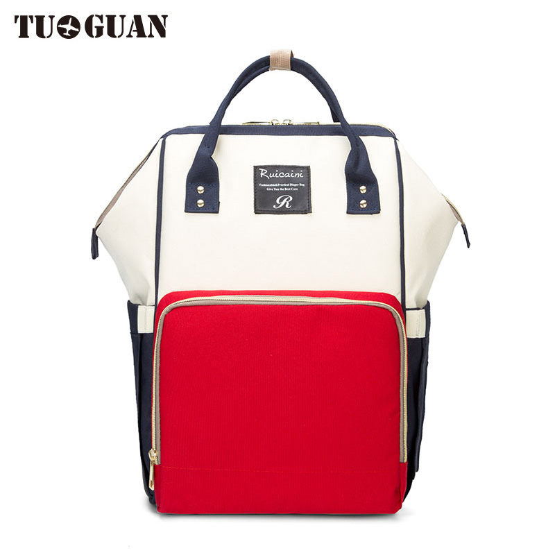 TUGUAN Fashion Women Canvas Anello Backpack Mummy Maternity Nappy Bag Large Capacity Baby Bag Nursing Back Pack Baby Care