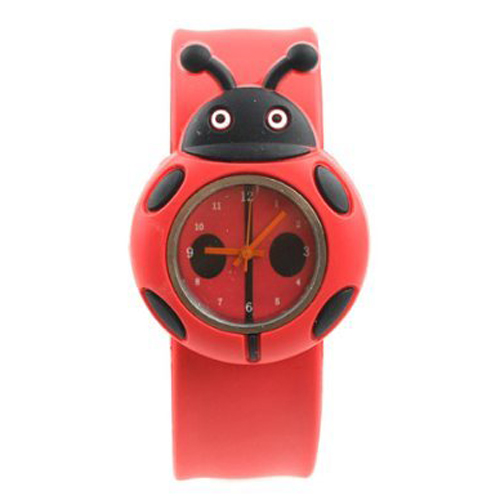 YCYS-Child Boy Girl Ladybug Adorable Cartoon Silicone Watch - Color: Red карабинеры