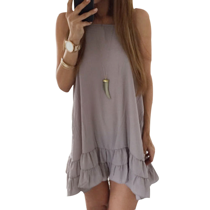 2018 new dress online casual sleeveless sling solid color pleated mini dress