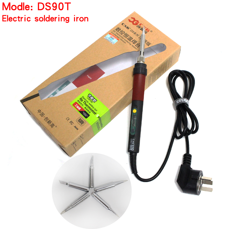 free shipping CXG DS90T 220V 90W Soldering Iron heating welding electric soldering iron the same as GS90D+Iron 5pcs Tips