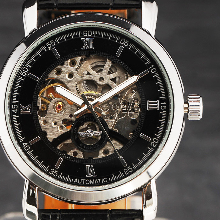 2015 New Fashion Watches Men Luxury Brand Vintage Stainless Case Roman Skeleton Dial Automatic Mechanical Leather Strap Relogio2015 New Fashion Watches Men Luxury Brand Vintage Stainless Case Roman Skeleton Dial Automatic Mechanical Leather Strap Relogio