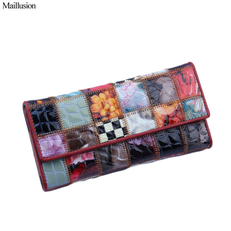 Maillusion Wallet Female Fashion Geniuen Leather Cowhide Stitching Women Wallet Card Holder Long Purse Money Designer