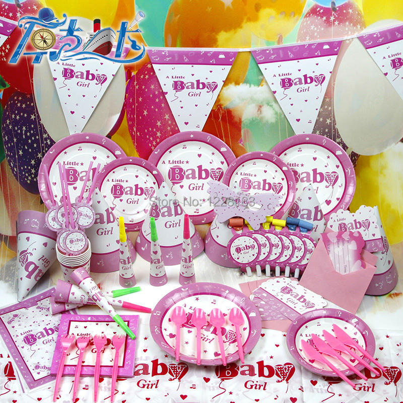 New Arrival 90PCLot Lovely Girl Baby Shower Party Set Baby Girl