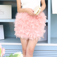 New natural Ostrich fur Bra skirt women fur skirt real ostrich fur with feathers tops fur mini Skirting HN174