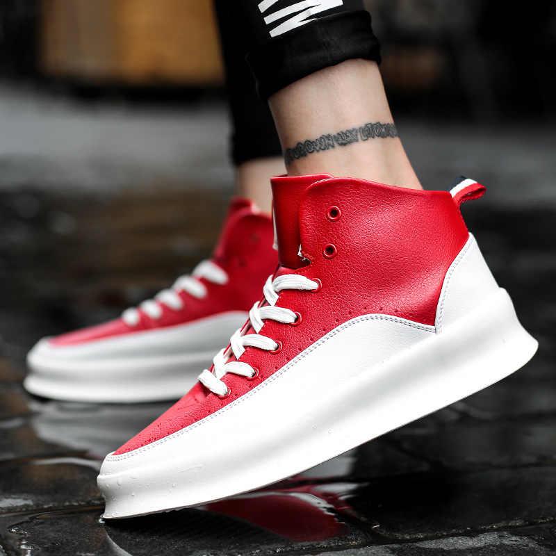 2019 ชายสูง kanye justin cool Mens Casual Shoesmale รถจักรยานยนต์รองเท้าผ้าใบ hip hop designer ความสูงเพิ่ม chunky botas