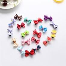 YWHUANSEN – Barrettes à Mini nœud pour filles, 20 pièces/lot, pinces à cheveux à rayures et points solides, épingles à cheveux pour enfants, accessoires pour bébés