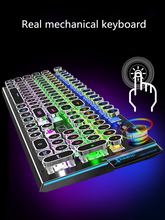 Steampunk real mechanical keyboard game round key notebook 104 key wired usb external computer desktop office esports