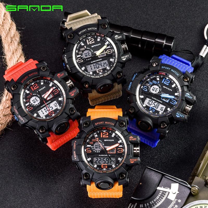 SANDA top luxury brand G style men's military sports watch LED digital watch waterproof men's watch Relogio Masculino 5