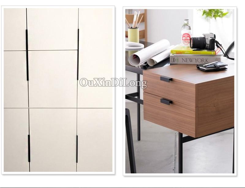 HOT 10PCS European Modern Kitchen Door Handle Cupboard Wardrobe Drawer Cabinet Invisible Hidden Pulls Handles Furniture Hardware in Cabinet Pulls from Home Improvement
