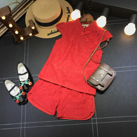 Vetement Enfant Fille 2017 Summer New Retro Girls Suits Lace Chinese Style Tops Lace Shorts Set
