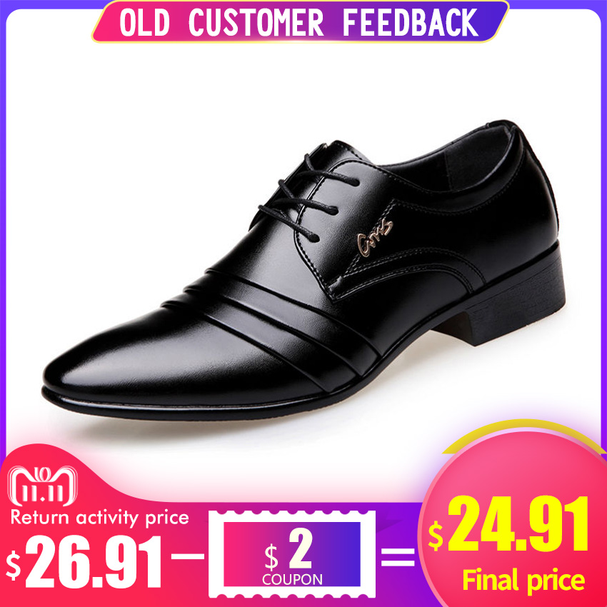 BIMUDUIYU Top Quality Men oxfords Dress Shoes Fashion Lace-up Wedding Black Shoes Mens Pointed Toe formal Office Shoes Big Size hot sale mens genuine leather cow lace up male formal shoes dress shoes pointed toe footwear multi color plus size 37 44 yellow