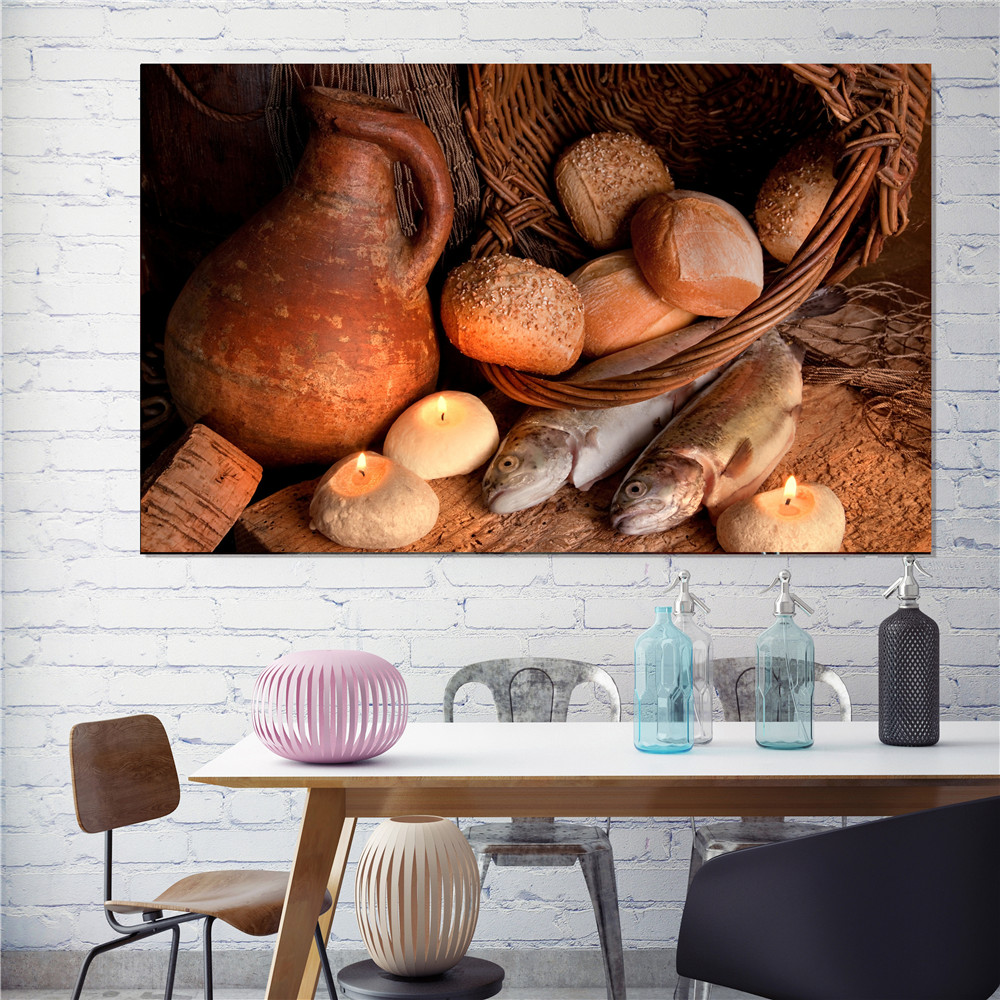 Scandinavian Decor Bread Food Painting Fish Poster Canvas Pictures for Living Room Decoration Kitchen Wll Art Home Decor موك اب هوية مطعم