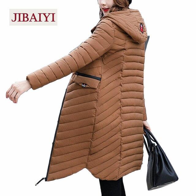 Плюс длинное пальто 2017 г. женские зимние с капюшоном стеганая куртка Женские Длинные рукава Теплая Верхняя одежда парки в полоску женские пальто Лидер продаж