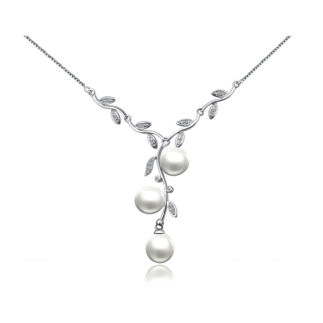 Sinya Natural freshwater Pearl Necklace 925 sterling silver choker fine jewelry via 3pcs AAA Freshwater pearls gift for women