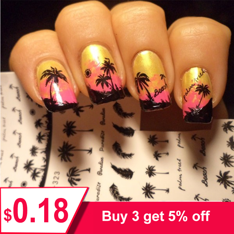 1 Sheet Feather Nail Water Decals Coconut Tree Summer