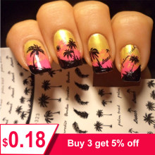 1 Sheet Feather Nail Water Decals Coconut Tree Summer Style Transfer Stickers Nail Art Sticker Tattoo Decals(China)
