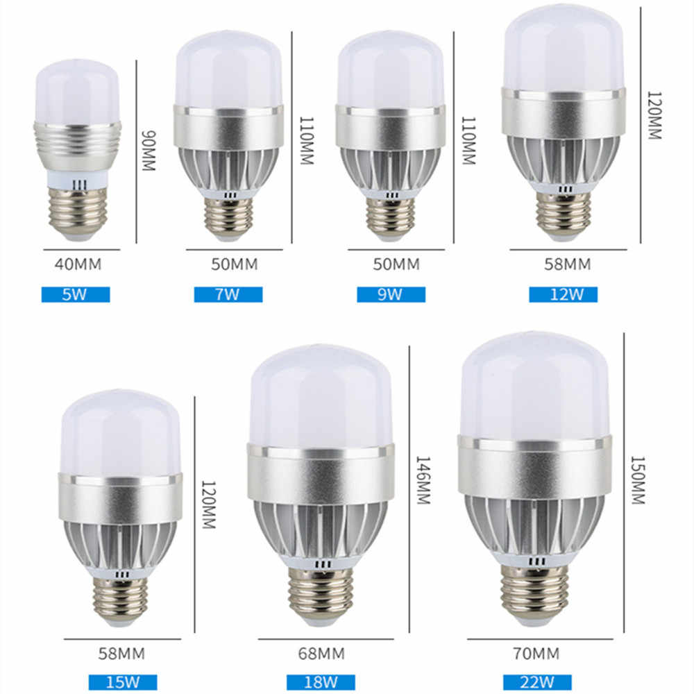 led bulb light e27 110v 220v 5630 5730 smd 5W 7W 9W 12W 15W 18W 22W daylight white 6500k warm whie 3000k high power lamp