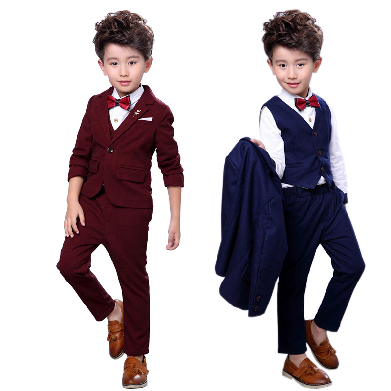 3Pcs/set Boy Gentleman Suit for Weddings Prom Party 2-10Y Children Slim Fit Costumes Boys Tuxedos Formal Blazer Vest Pants Suits hot new children suit baby boys suits kids blazer boys formal suit for wedding boys clothes set jackets blazer pants 3pcs 2 10y