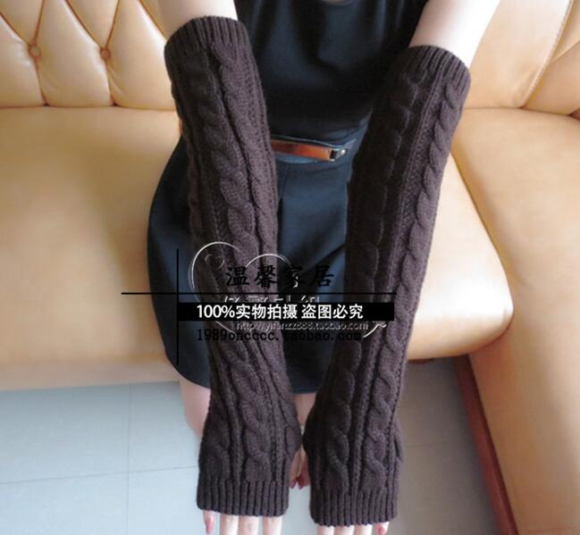 Arm Sleeves Winter Women Long Arm Warmers 52cm Twisted Thick