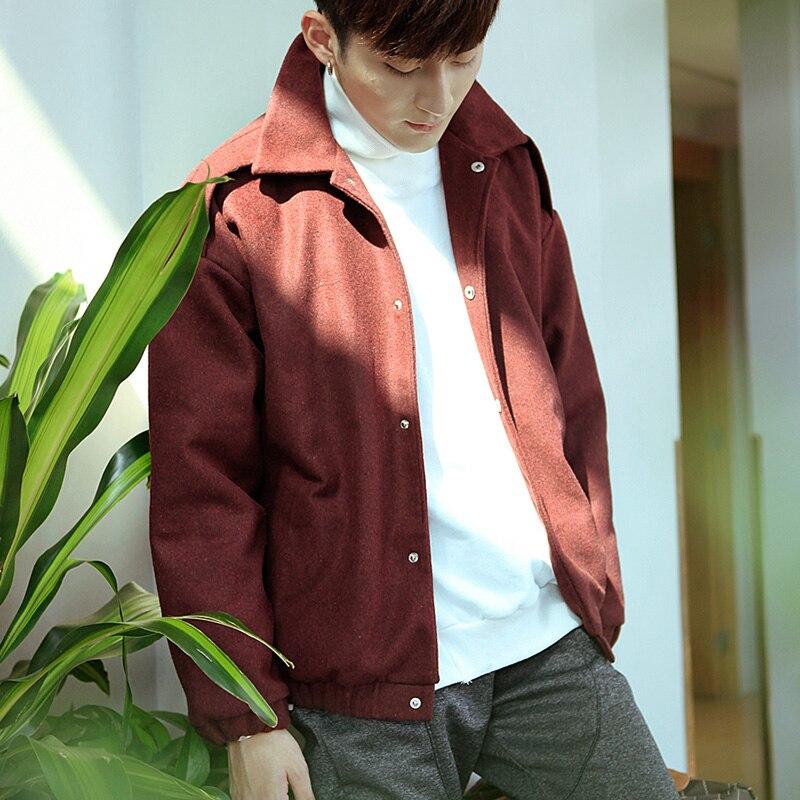 The 2016 New South Korean men's winter wool coat lapel coat color male male Korean short jacket dress