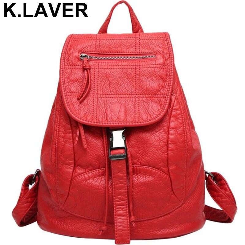 Women High-grade Washed Leather Backpack Schoolbag Female Rucksack Girl Shoulder Bag Mochila Ladies Knapsack Travel Bags Bookbag