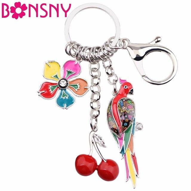Bonsny Animal Enamel Bird Parrot Cherry Flower Key Chains Women Keyrings Gift For Handbag Keychains
