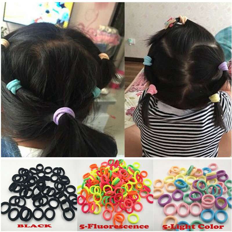 50 Pcs Elastic Rubber Hair Ties Band Rope Ring Ponytail Holder Rubber String Hairband Headwear Scrunchie Kid Girl Free Shipping