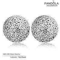 CKK 925 Sterling Silver Pave Ball Stud Earrings for Women Fine Jewelry Trendy Silver 925 Earrings boucles d oreille femme