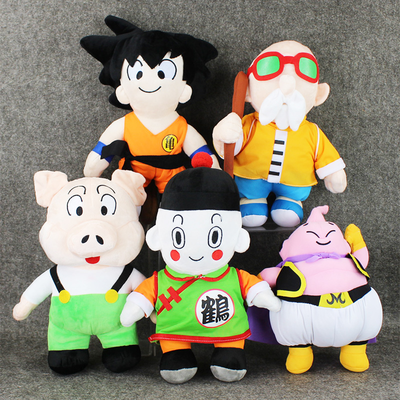 5Styles 28-37cm Anime Dragon Ball Z Plush Toys Son Goku Majin Buu Roshi Chiaotzu Oolong Cute Soft Stuffed Plush Toys Doll new hot 33cm dragon ball buu plush toys soft stuffed doll christmas gift