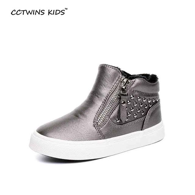 CCTWINS CRIANÇAS do inverno do bebê meninos marca high top sneakers crianças pu sapatos de couro crianças tênis de corrida meninas tênis do parafuso prisioneiro