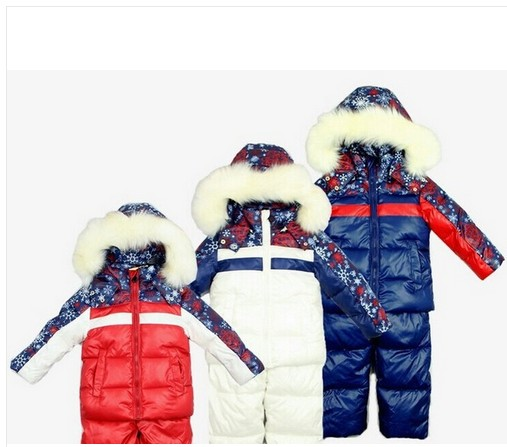 New 2014 Children's Winter Clothing Set Boy Girl baby kids Ski Suit Windproof Warm Coats Fur Jackets+Bib Pants child ski set 30degrees winter baby clothing set russia baby girl ski suit sets boy s outdoor sport kids down coats jackets trousers fur