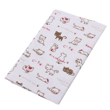 Cotton Linen Fabric Print Cats thin Patchwork dobby Fabric Quilt Charm Quarters Bundle Sewing 50cmx80cm W210