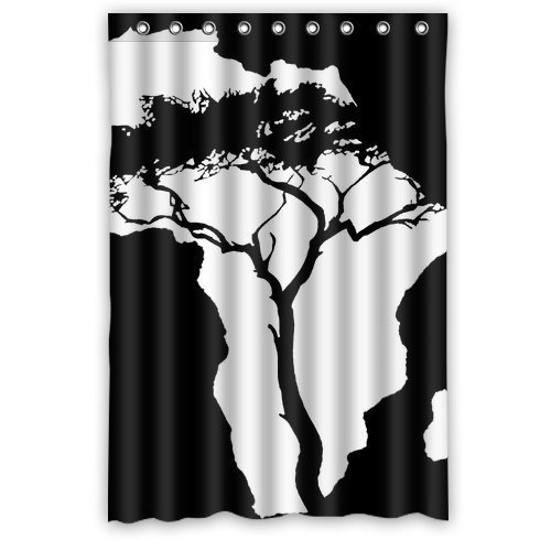 Art Tree And Africa Continental Map Custom Waterproof Shower Curtain  Bathroom Curtains Bath Curtain 48 Inches