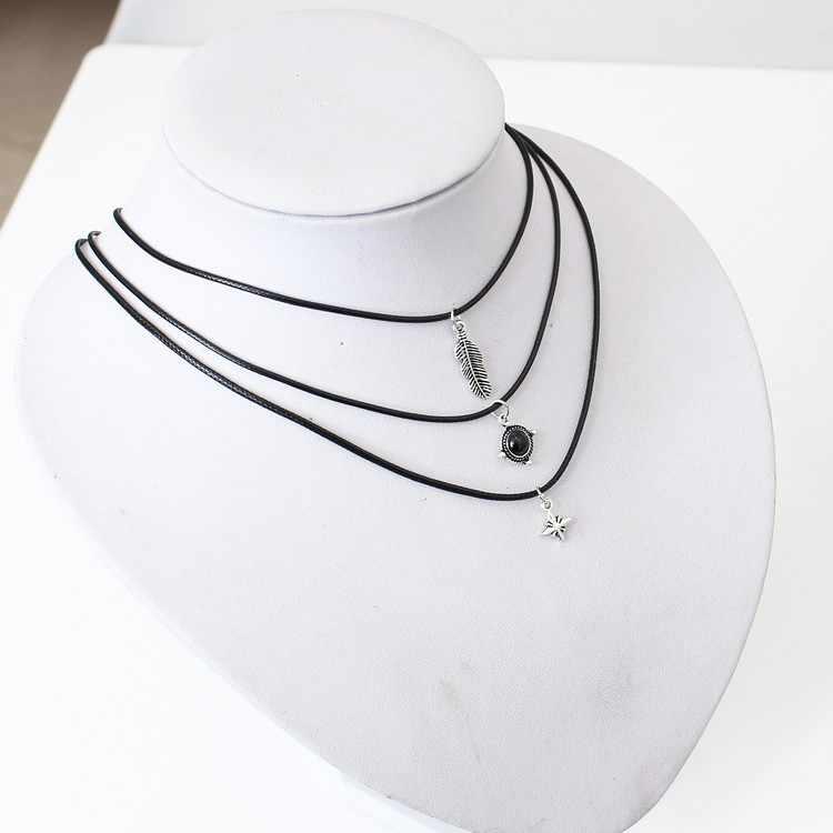 Europe and America fast sale retro leaves gem stars leather necklace choker  подвеска collares de moda 2019