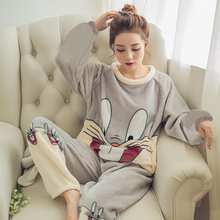 2017 Autumn Winter Women Pajamas Set Sleep Jacket Pant Sleepwear Warm Nightgown Female Cartoon Bear Animal Pants Sleepwear